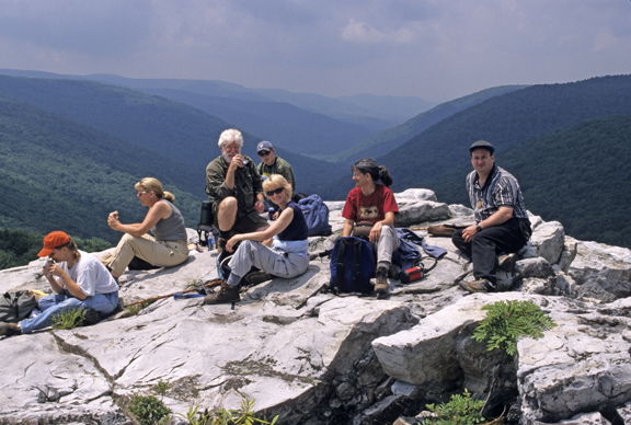 group at the Rohrbaugh Plains Trail overlook in the Dolly Sods W