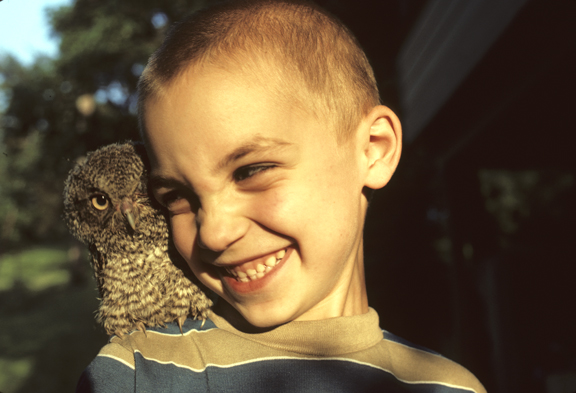7 year old boy with 2-week-old screech owl (Otus asio)